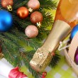 Champagne bottle and christmas baubles, Merry Christmas and Happy New Year — Stockfoto