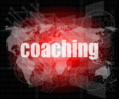 Coaching word on touch screen, modern virtual technology background — Stock Photo