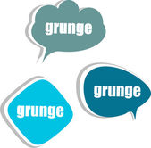Grunge word on modern banner design template. set of stickers, labels, tags, clouds — Stock Photo
