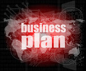 Business plan on digital touch screen interface — Stock Photo