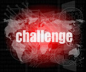 Marketing concept: words challenge on digital screen — Stok fotoğraf