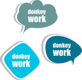 Donkey work. Set of stickers, labels, tags. Template for infographics — Stock Photo