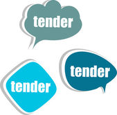 Tender word on modern banner design template. set of stickers, labels, tags, clouds — Stock Photo