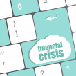 Financial crisis key showing business insurance concept — Stock Photo