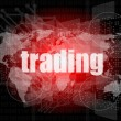 Trading word on digital screen, global communication concept — Stock Photo