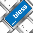 Stock Photo: Bless text on computer keyboard key - business concept