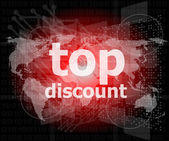 Top discount word on digital touch screen — Stock Photo