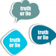 Truth or lie. Set of stickers, labels, tags. Template for infographics — Foto Stock