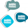 Public relations word on modern banner design template. set of stickers, labels, tags, clouds — Stock Photo