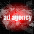 Pixeled word Ad agency on digital screen 3d render — Stock Photo