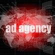Pixeled word Ad agency on digital screen 3d render — Stock Photo