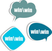 Win word, set of stickers, labels, tags. Template for infographics — Stock Photo