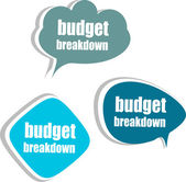 Budget breakdown. Set of stickers, labels, tags. Business banners — Stock Photo