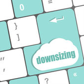 Cloud icon with downsizing word on computer keyboard key — Stock Photo