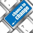 Chance to change button on computer keyboard key — Stock Photo