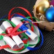 White invitation paper with gift and christmas balls — Stock Photo