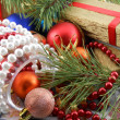 Christmas gift box with new year balls, white diamonds and tree branch — Foto de Stock