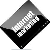 Video media player for web with internet marketing word — Stock Photo
