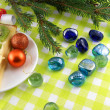 Christmas balls, new year fir tree and stones set — Photo