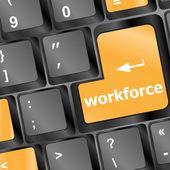 Beroepsbevolking toets op toetsenbord - bedrijfsconcept — Stockfoto