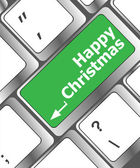 Happy christmas message, keyboard enter key button — Stock Photo