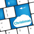 Christmas button on the keyboard key - holiday concept — Стоковая фотография