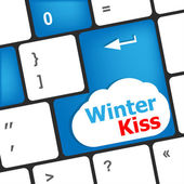 Winter kiss on computer keyboard key button — Stock Photo