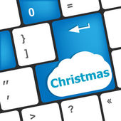 Christmas button on the keyboard key - holiday concept — Φωτογραφία Αρχείου