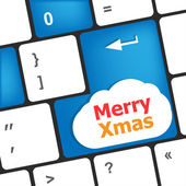 Merry christmas message, keyboard enter key button xmas — Stock Photo
