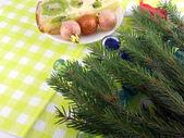Christmas balls, new year fir tree and stones set — Stock Photo