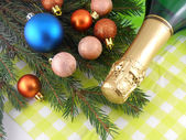 Champagne bottle and christmas baubles, Merry Christmas and Happy New Year — Stock Photo