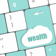 Cloud icon with wealth word on computer keyboard key — Stock Photo