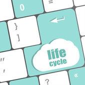 Life cycle on laptop keyboard key — Stock Photo