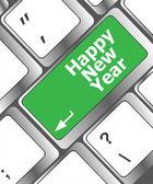 Gelukkig kerstboodschap, toetsenbord invoeren sleutelknop naast — Stockfoto