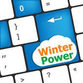 Winter power on computer keyboard key button — Stock Photo