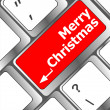 Merry christmas message, keyboard enter key button — Stock Photo
