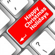 Happy christmas holidays button on computer keyboard key — Stock Photo