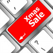Computer keyboard with holiday key - xmas sale — Stock Photo