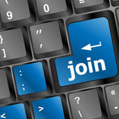Online communities concept, with 'join us' on computer keyboard. — Stock Photo