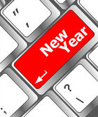 Happy new year message, keyboard enter key — 图库照片