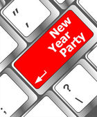 Computer keyboard key with new year party words — Stock fotografie