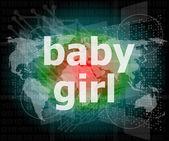 Testo di ragazza bambino sullo schermo di tocco digitale - concetto sociale — Foto Stock