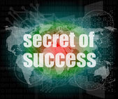 Segreto del testo di successo su interfaccia digitale touch screen — Foto Stock