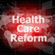 Foto Stock: Health care reform word on touch screen, modern virtual technology background