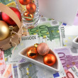 New year celebration event, money wallpaper, christmas balls and blank paper — Stock Photo