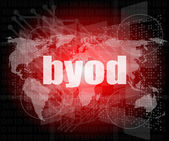Byod word on digital screen, mission control interface hi technology — Stock Photo