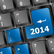 New year concept: 2014 key on the computer keyboard — Stock Photo
