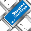 Computer keyboard with seasons greetings keys - holiday concept — Foto Stock