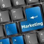 Keyboard with key marketing — Stock Photo