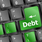Debt on keyboard — Stock Photo